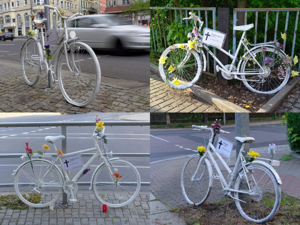 Vier wieder aufgefrischte Ghostbikes